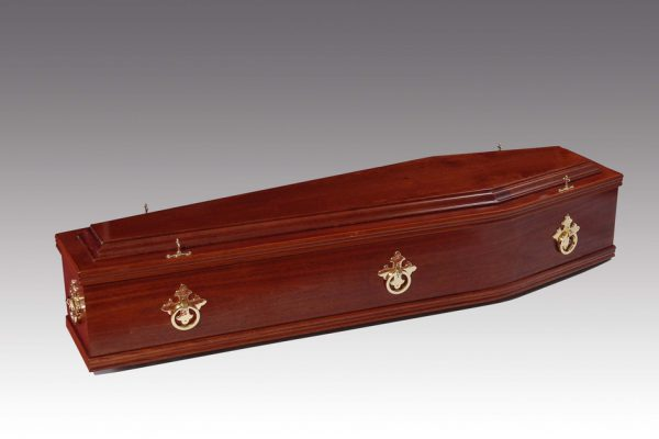 Plain mahogany veneered coffin, fitted with metal handles and a standard interior.