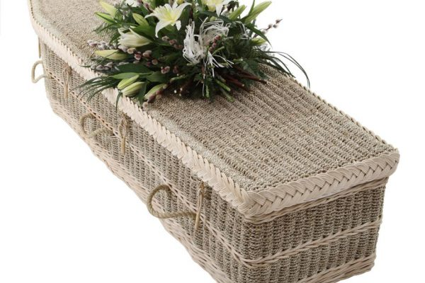 Designed and handcrafted with both the environment and client in mind. These coffins are biodegradable and made from natural materials. Standard white premium lining. Linen lining also available.