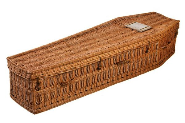 Premier Irish willow, hand crafted with the environment and client in mind.  This coffin is biodegradable and made from all natural materials. Due to the handmade nature, the form and colour may vary from the photo. White interior with lace trim  - linen lining also available.