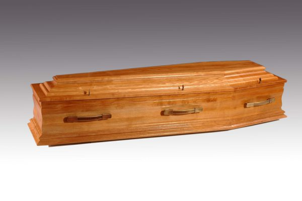 Hand-crafted from European oak and finished with a satin lacquer. Fitted with metal handles and a premium quality interior.  Additional charges may be occurred at certain cemeteries to accommodate caskets and oversized coffins. Your arranger can advise you on these costs.