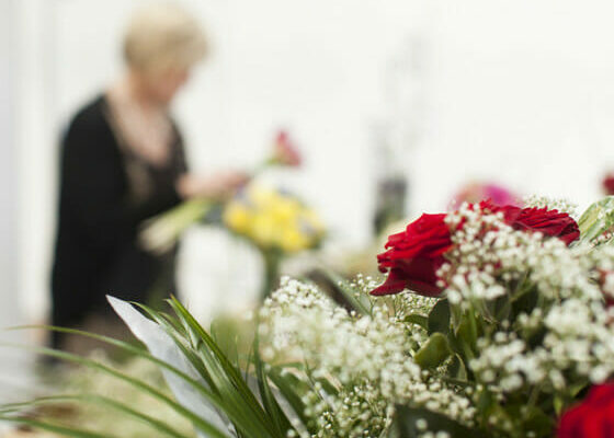 Tailored Floral Arrangement as discussed with family. From €200.